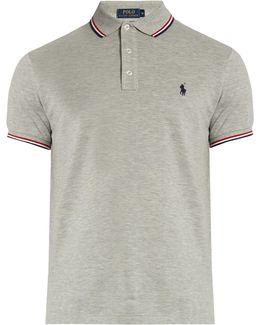 Slim-fit Striped-collar Cotton-piqué Polo Shirt