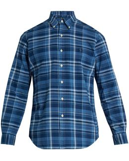 Logo-embroidered Checked Cotton Shirt