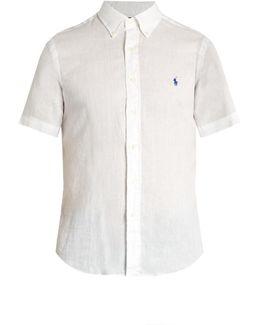 Button-down Collar Short-sleeved Linen Shirt