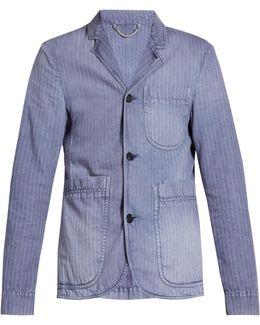 Single-breasted Herringbone Cotton-blend Blazer