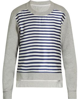 Striped-satin And Jersey Sweatshirt