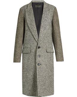 Peak-lapel Herringbone-tweed Coat