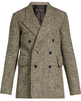 Double-breasted Herringbone-tweed Blazer