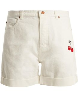 Cherry-embroidered High-rise Denim Shorts