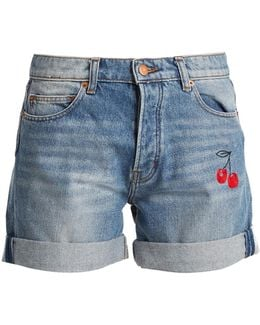 Cherry-embroidered Denim Shorts