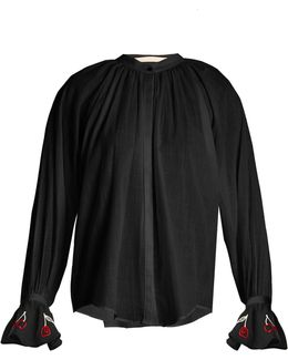 Cherry-embroidered Cotton-voile Shirt