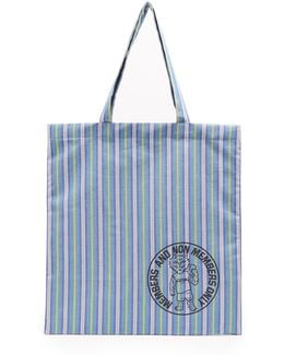 Members-print Striped Cotton-canvas Tote