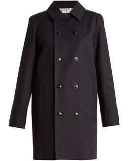 Marine Double-breasted Stretch-cotton Coat