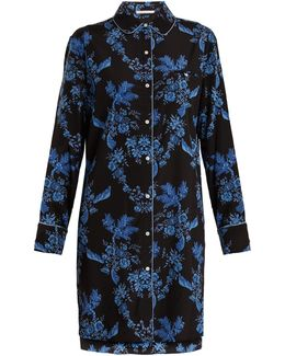 Poppy Snoozing Stretch-silk Pyjama Shirtdress