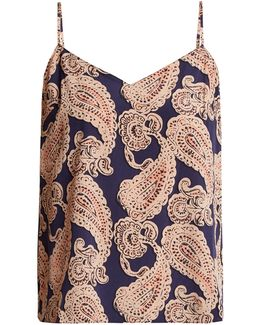 Poppy Snoozing Paisley-print Silk-blend Cami Top