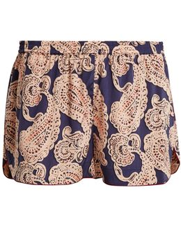 Poppy Snoozing Paisley-print Pyjama Shorts