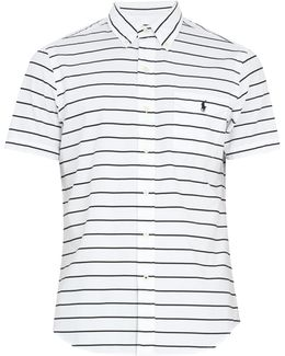 Striped Short-sleeved Cotton Shirt
