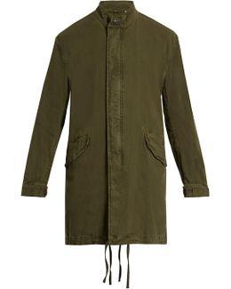 Stand-collar Linen And Cotton-blend Parka
