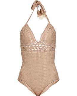 Farah Halterneck Crochet Swimsuit