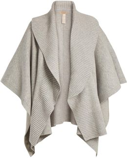 Ribbed-lapel Wool And Cashmere-blend Poncho