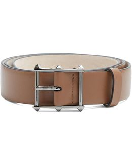 Rockstud-buckle Leather Belt