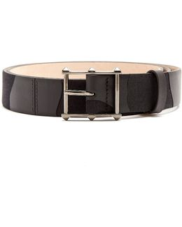Rockstud-buckle Canvas And Leather Belt