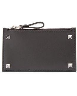 Rockstud Leather Cardholder