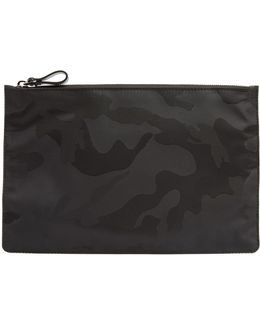 Camouflage-jacquard Nylon Pouch