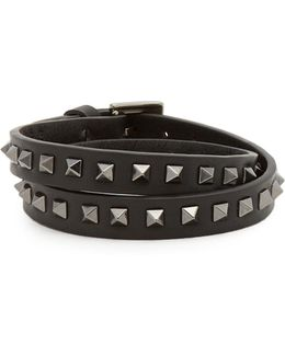 Wraparound Rockstud-embellished Leather Bracelet