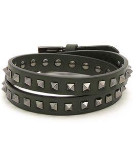 Wraparound Rockstud-embellished Leather Bracelet