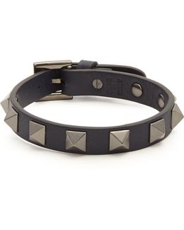Rockstud-embellished Leather Bracelet