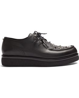 Almond-toe Embellished Leather Derby Shoes
