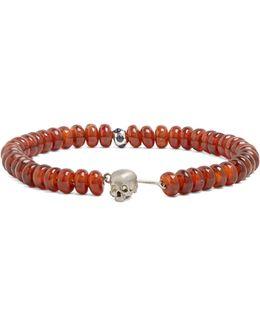 Bead And White-gold Skull Bracelet