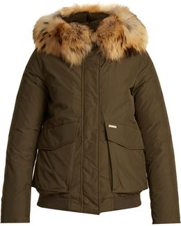 Military Fur-trimmed Down Bomber Jacket