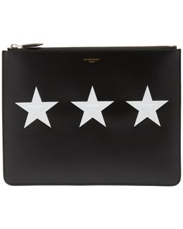 Star-print Leather Document Holder