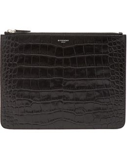 Crocodile-effect Embossed-leather Document Holder