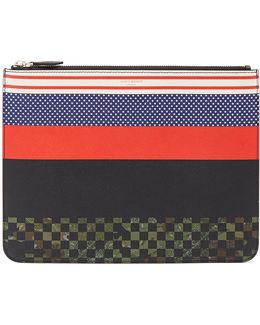 Striped Grained-leather Document Holder