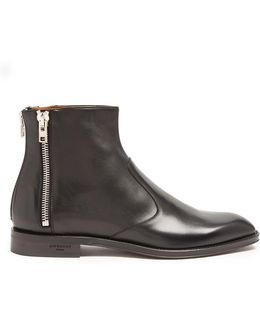 Zip-trimmed Leather Chelsea Boots