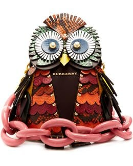 Owl Snakeskin, Leather And Suede Bag