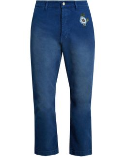 Embroidered Stretch-denim Cropped Trousers