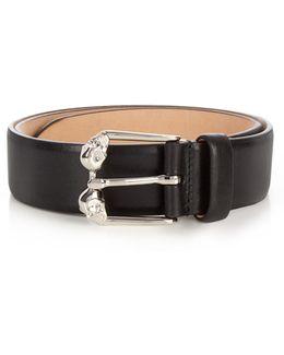 Twin-skull Leather Belt