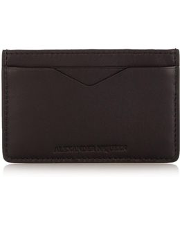 Ribcage-embossed Leather Cardholder