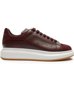 Raised-sole Low-top Leather And Suede Trainers
