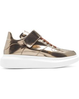 Raise-sole High-top Leather Trainers