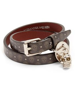 Skull-print Wraparound Leather Bracelet