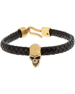 Skull And Woven-leather Bracelet