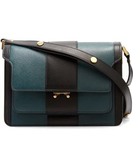 Trunk Striped Medium Saffiano-leather Shoulder Bag