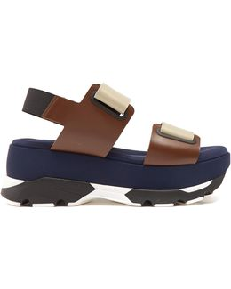 Double-strap Leather And Neoprene Flatform Sandals