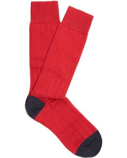 Scott Nichol Oxford Ribbed-knit Socks