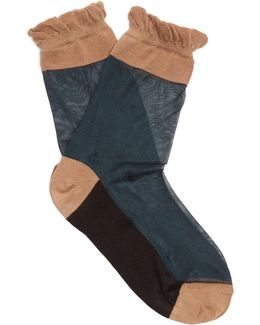 Ruffled Semi-sheer Socks