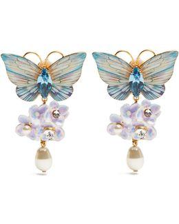 Hydrangea And Butterfly Clip-on Drop Earrings