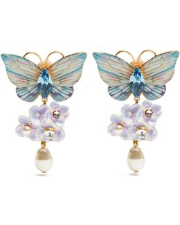 Hydrangea And Butterfly Clip-on Drop Earrings