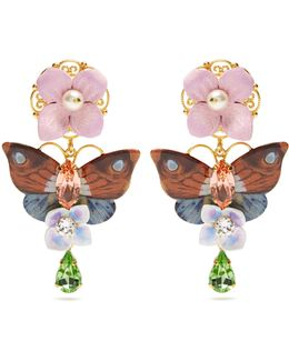 Hydrangea And Butterfly-embellished Earrings