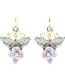 Hydrangea And Butterfly-embellished Drop Earrings
