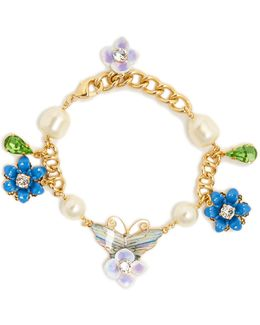 Hydrangea And Butterfly-embellished Bracelet